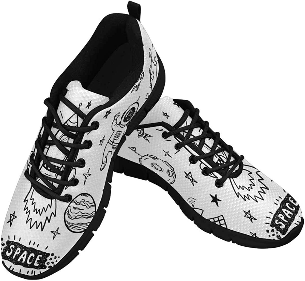 INTERESTPRINT Doodle Space Women's Breathable Non Slip Sneakers