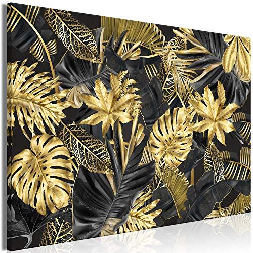 murando Impression sur Toile intissee Tropical Feuilles 90x60 cm Tableau Tableaux Decoration Murale Photo Image Artistique Photographie Graphique 1 Piece Monstera Noir Or b-C-0717-b-a