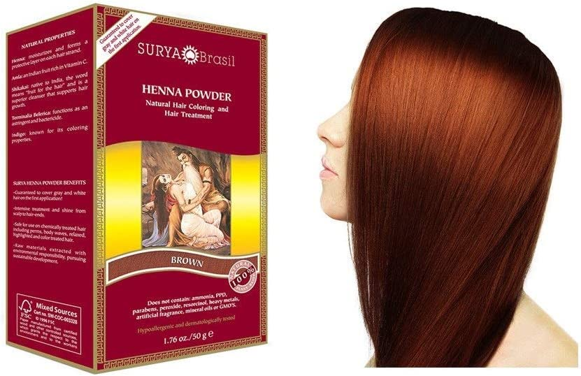 Surya Brasil Henna - Polvo de fresno, 50 g, color marrón ...