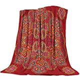 YEHO Art Gallery Super Soft Fleece Throw Blanket Bed Blankets,Red Paisley Pattern,Lightweight Plush Microfiber Blanket,Warm Cozy Couch Bed TV Blanket for All Season,49x59 Inch