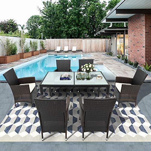 Dawns Juego de muebles de jardín de polirratán, con 6 sillas y mesa, 150 x 90 x 74 cm, color marrón