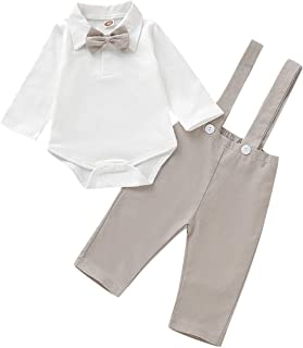 Beal Shopping Baby Jumpsuit Long Sleeve Boy Striped Jumpsuit Gentleman Cotton Tights Fake 2 Small Suit Suit with Bow Tie