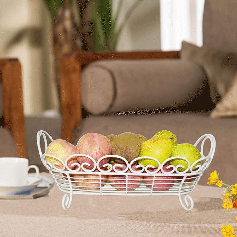 GLJJQMY Fruit Pot Salon Rectangulaire Fer Fruits Panier Européen Créatif Fruits Bol Mode Stockage Bassin Cuisine Multifonction Plateau de fruits (Couleur   Blanc)