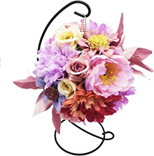 Lumiphire Artificial Flower Arrangement with Stand Home Decor Accessories Living Room Bedroom Table Centerpieces Ornaments Christmas Thank You Birthday Presents Gifts for Her Lily Dahlia 28cm Purple