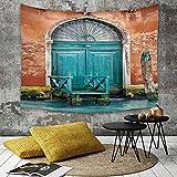 Yaoni Tapestry Pared paño Mantel Toalla de Playa,Venecia, Antiguo Edificio con Puerta Antigua...