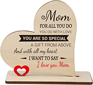 SOUHONEY Mom Birthday Gifts with Wooden Hearts Plaque from Daughter, Personalized Wooden Heart Sign with Engraved Sayings, Christmas Mother's Day Thanksgiving Gift for Mom from Daughter Son