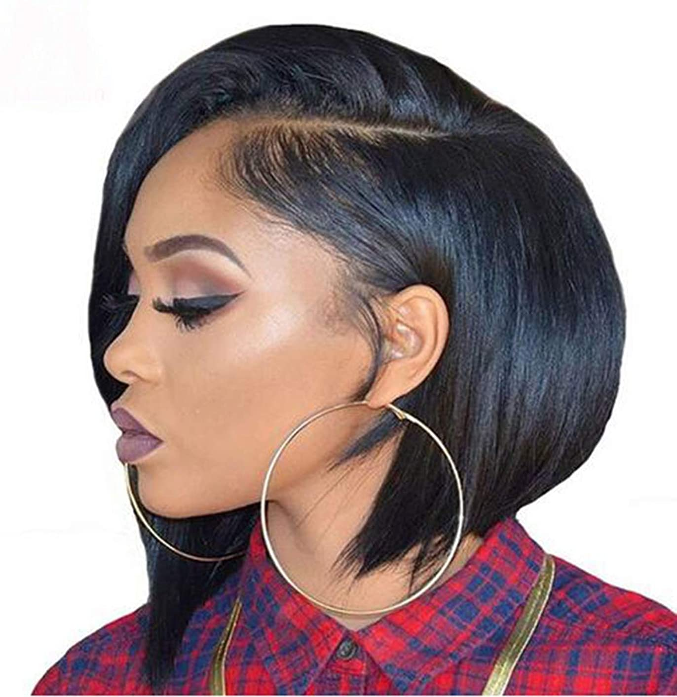 Glueless Virgin Human Hair Wigs 130% Density Short Bob Side Part Wigs Lace Front Brazilian Human Hair Wigs 8inch