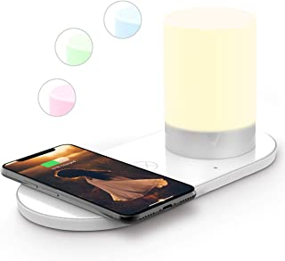 LXORY Bedside Lamp with USB Port - LED Night Light with Qi Wireless Charger - Adjustable Colours Bedroom Table Touch Lamp - Energy Saving Nightstand Light Incl. 18W Wall Adapter