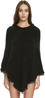 Women's Ruffle Lace Soft Poncho Sweater Warm Pullover Cape
