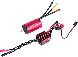 RCRunning BL2845 3900KV 3.175mm Brushless Motor Waterproof Sensorless with 35A Brushless ESC Combo Set for 1/12 1/14 1/16 1/18 RC Car Truck Running Off-Road Vehicle (Red)