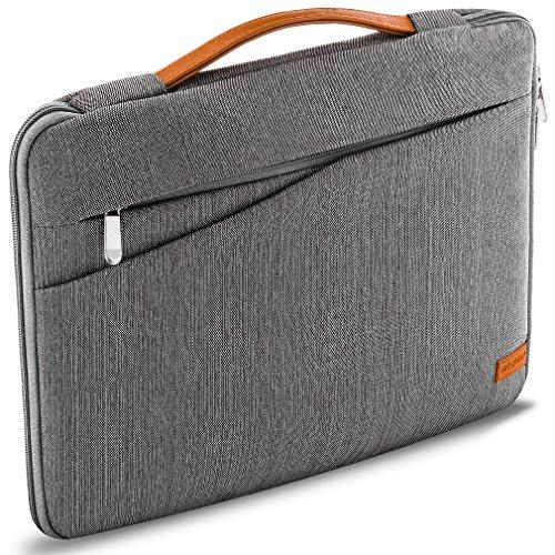 """deleyCON 14\"""" - 15,6\"""" Zoll Notebook Tasche für Netbook Laptop (35,56cm - 39,62cm) Laptoptasche aus robustem Nylon 2 Zubehörfächer verstärkte Polsterwände - Grau"""
