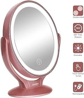 Aesfee 主導照明付きメイクバニティミラー充電式1X / 7X倍率は二重 調光可能なタッチスクリーンポータブル卓上照らさ化粧鏡と360度 スイベル拡大鏡を両面 7倍バック倍率 ローズゴールド