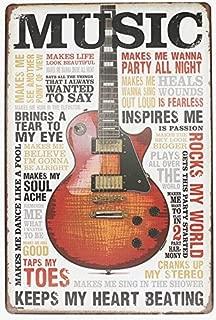 ARTCLUB Music Inspires Me, Retro Metal Tin Sign, Vintage Poster Antique Plaque Living Room Bedroom Study Bar Home Wall Decor