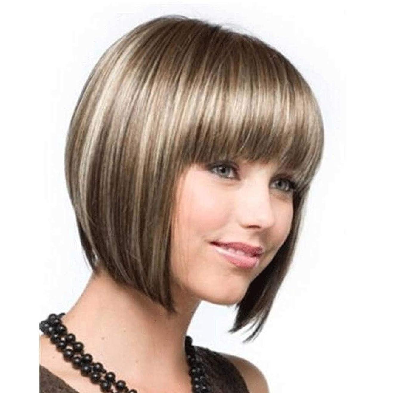 体系的に真空否定する女性のストレートショートボブ耐熱合成かつら、ナチュラルミックスブラウンブロンド2色フルヘアかつら前髪 (色 : Blond)