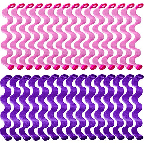 30 Pieces Hair Curlers Spiral Curls Styling Kit No Heat Hair Curlers Heatless Spiral Curlers Hair Rollers Wave Styles with 2 Pieces Styling Hooks for Most Hairstyles (30 cm, Purple, Pink)