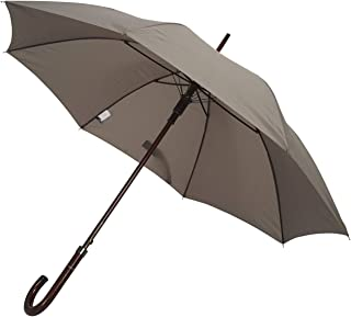 TAHARI Deluxe Automatic Open Wood Handle & Shaft Umbrella (Grey)
