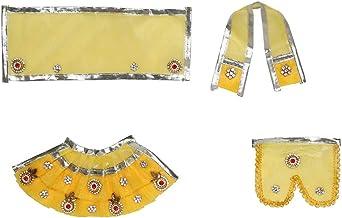 Yellow Laxmi Ganesh Dress poshak vastra Cloth Lehenga Chunari Dhoti Puja Item samgari Radha Krishna Dress for Statue Idol ...
