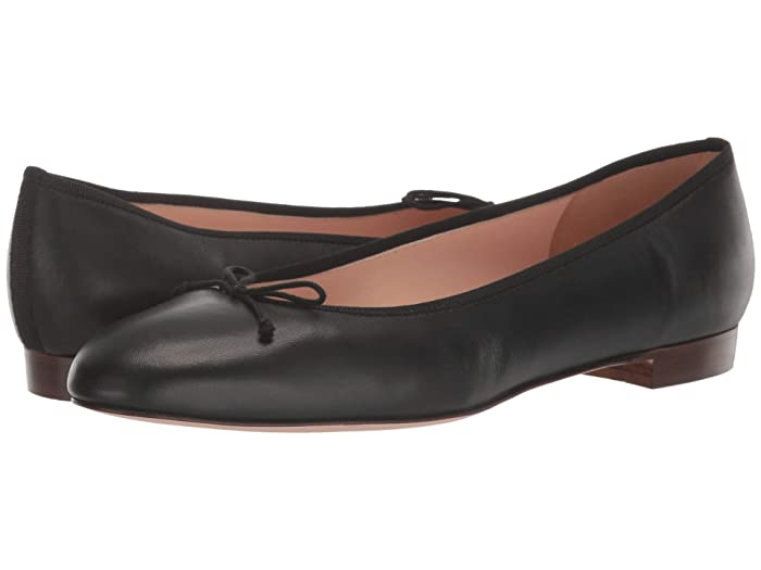 J.Crew  Leather Uptown Classic Ballet (Black) Womens Flat Shoes