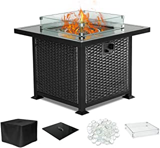 PIEDLE Outdoor Propane Gas Fire Pit Table,32-inch 50,000 BTU Patio Fire Table, Black Tempered Tabletop w/Clear Glass Rocks with Resin Wicker Panels. CSA Certification, Black/Square