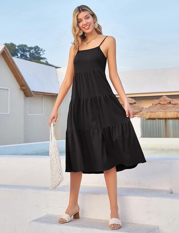 GRACE KARIN Womens Spaghetti Strap Tiered Long Maxi Dress Casual Loose Flowy Swing Sundress