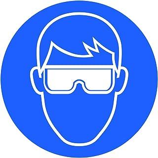 10 Stück Schutzbrille Aufkleber Augenschutz tragen Sticker Durchmesser 9,5cm Gebotszeichen mit UV Schutz Hinweiszeichen für Außenbereich Innenbereich von STROBO