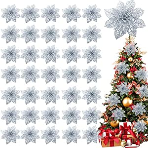 TURNMEON 36 Pack Christmas Flowers Decorations, Glitter Poinsettia Christmas Tree Ornaments, 4″ Artificial Silk Flowers Picks for Christmas Wreaths Garland Holiday Decoration (Royal Silver)