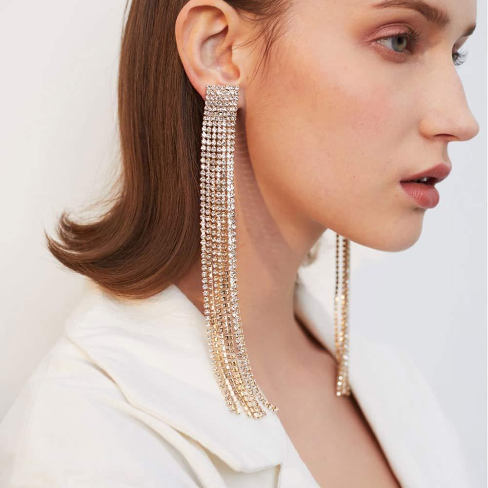 FXmimior Fashion Women Long Rhinestones Tassel Earrings Gold Bohemian Long Chain Drop Dangle Earrings Jewelry for Women