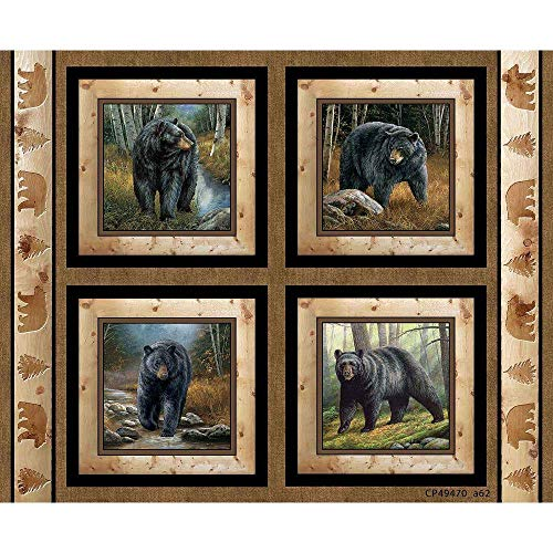 Bear Fabric Wild Wings Reluctant Companion Pillow Panel Fabric 100% Cotton Fabric by The Panel