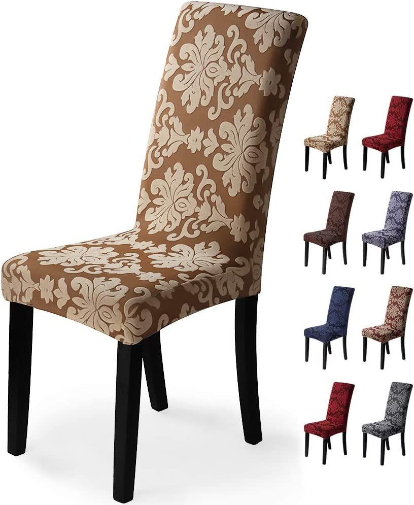 Fundas para sillas 6 Piezas Funda de Silla Comedor Stretch Cubiertas para sillas Extraíble Lavable Cubierta de Asiento Fundas sillas Duradera Modern Boda Decor Restaurante(6Piezas,Jacquard-Beige)