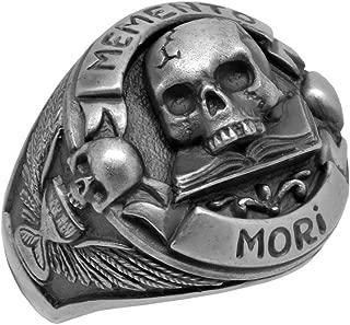 Masonic Skull over Book Memento Mori Mens Biker Ring, Sterling Silver 925 Custom Made