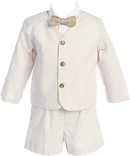 Boy's Easter 4 Piece Striped Seersucker Eton Suit in Khaki