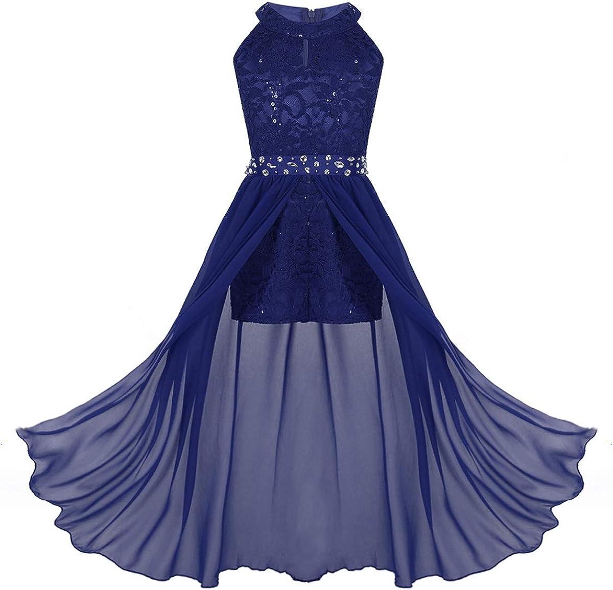 iiniim Kids Big Girls High-Neck Maxi Romper Dress Junior Bridesmaid Wedding Flower Dress Party Evening Long Gown