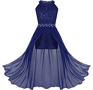 Kids Big Girls Halter-Neck Floral Lace Junior Bridesmaid Dress Dance Party Birthday Wedding Long Gown