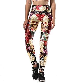 XiuZP ファッション3dデジタル印刷パフォーマンス服フラワーケーススカルタイトフィットフィットネスパンツデジタルプリント快適なスウェットパンツヨガパンツタイツスポーツフィットネス用女性 (Color : Multi-colored, Size : L)