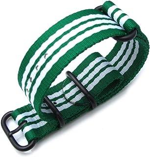 Cinturino MiLTAT 20mm, 22mm o 24mm 3 anelli Zulu JB cinturino militare cinturino in nylon balistico cinturino - PVD verde ...