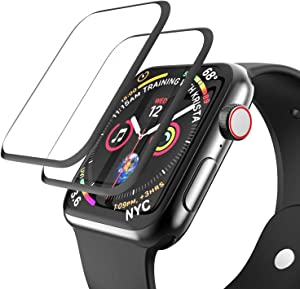 [2 Pack] Tempered Glass Screen Protector Compatible for Apple Watch Series 3/2/1 38mm, EWUONU 3D Full Coverage [Easy Installation Frame] Waterproof Bubble-Free HD Clear Film for iWatch 38mm (38mm)