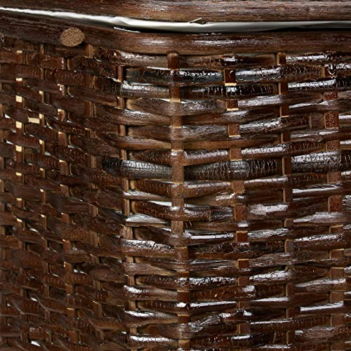 Truhe 2er Set geflochten Rattan eckig H x B x T: 26 x 50 x 29,5 cm stapelbare Korbtruhe mit herausnehmbarem Innenfutter waschbar ca. 28 L Rattantruhe atmungsaktiv und dekorativ, rotbraun - 5