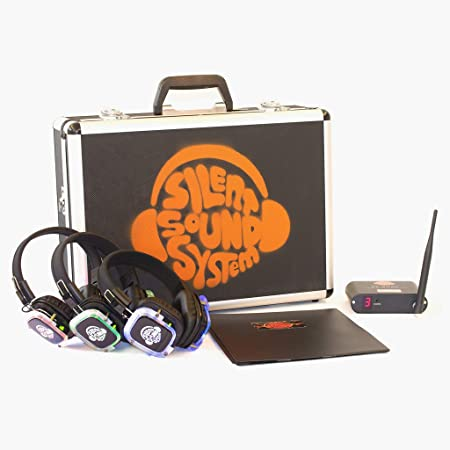 Silent Sound System Starter Package for House Party, Garden Event, Backyard Family Home Movies (9 Headphones + 1 Transmitter)