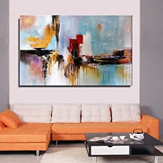 WSNDGWS Abstract Hand-Painted Abstract Decorative Painting of City in Abstract Oil Painting