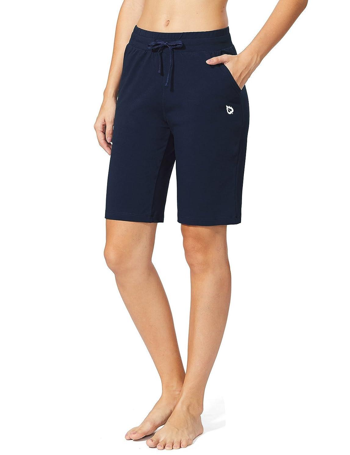 Baleaf Women's Active Yoga Lounge Bermuda Shorts with Pockets
