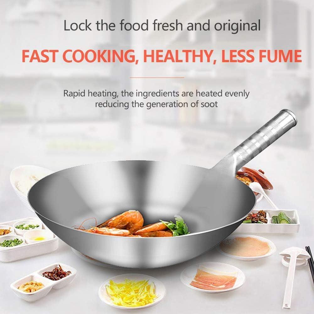 Wok en Acier Inoxydable - 32-45Cm / antiadhésif - Cuisinière à gaz à Induction Universelle - Poignées Stay-Cool, 40Cm, 40cm 32cm