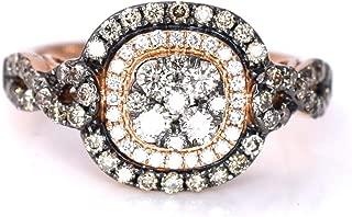 LeVian Chocolate Vanilla Diamonds Cluster Women Ring Women 0.90 ct 14K Rose Gold Size 7