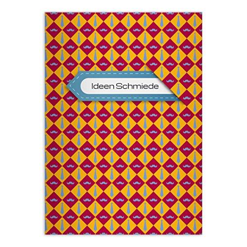 Kartenkaufrausch 16 gepersonaliseerde, trendy Moustache notitieboekje DIN A5 schoolschriften, rekenboekje met dassen, geel rood liniatuur 7 (geruit boekje)