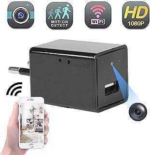 Mini cámara espía Oculta Diseño de Cargador USB Full HD 1080P con cámara WiFi para vigilancia de Seguridad doméstica con visión remota/detección de Movimiento/grabación en Bucle Uso Plug-and-Play