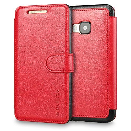 Mulbess Handyhülle für HTC One M9 Hülle Leder, HTC One M9 Handytasche, Layered Flip Schutzhülle für HTC One M9 Case, Wein Rot