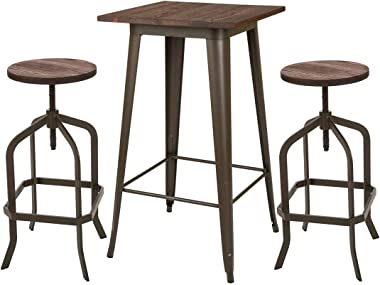 Glitzhome Vintage Adjustable Height Bar Stool with Wooden Seat Industrial Rustic Bar Table - Square Pub tabel and Metal Dining Chairs Set (Wood Seat 1)