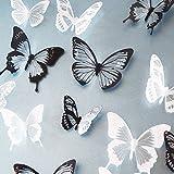 WandSticker4U®- 36er-Set 3D Schmetterlinge mit Glitzern SCHWARZ WEIß I Butterfly Dekoration Fenster Möbel Basteln Hochzeit Tischdeko I Wand Deko für Wohnzimmer Schlafzimmer Kinderzimmer Kinder - 2