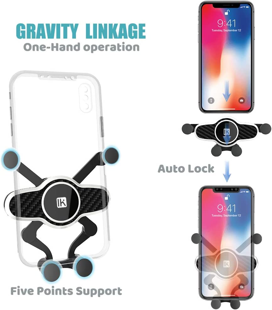InnKoo Car Phone Mount Compatible with iPhone 11 Pro 11 Max Xs Xr X 8 7 6 5 Plus Samsung Galaxy S10+ S10e S9 Google Pixel Air Vent Cell Phone Holder Cradle for Car Gravity Adjustable Red