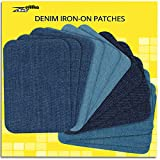 ZEFFFKA Premium Quality Denim Iron-on Jean Patches Inside & Outside Strongest Glue 100% Cotton Assorted Shades of Blue Repair Decorating Kit 12 Pieces Size 3' by 4-1/4' (7.5 cm x 10.5 cm)