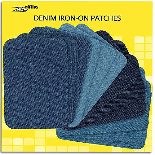 """ZEFFFKA Hochwertige Qualität Jean-Flicken zum Aufbügeln für Innen und Außen Stärkster Kleber 100% Baumwolle Verschiedene Blautöne Reparatur-Dekorationsset 12 Stück Größe 3"""" x 4-1/4"""" (7,5 cm x 10,5 cm)"""